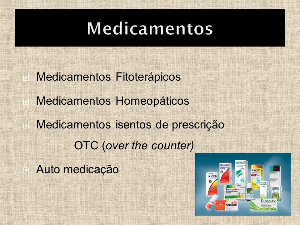  Medicamentos Fitoterápicos  Medicamentos Homeopáticos  Medicamentos isentos de prescrição OTC (over the counter)  Auto medicação