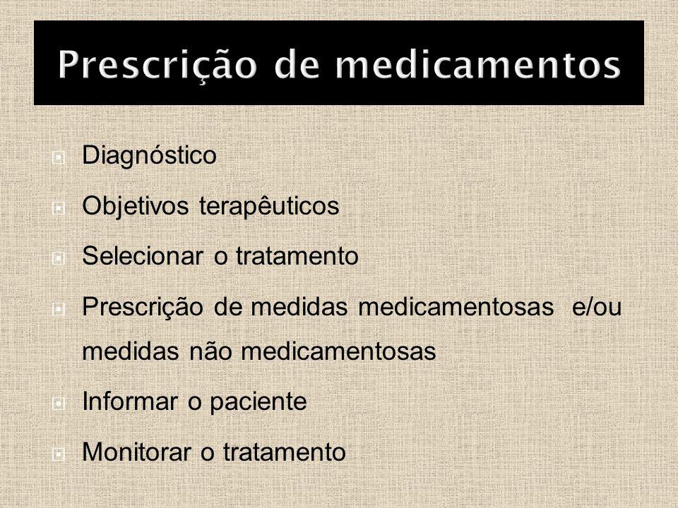  Diagnóstico  Objetivos terapêuticos  Selecionar o tratamento  Prescrição de medidas medicamentosas e/ou medidas não medicamentosas  Informar o p