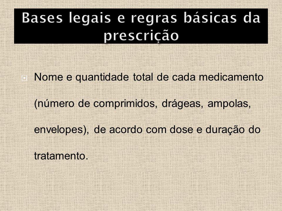  Nome e quantidade total de cada medicamento (número de comprimidos, drágeas, ampolas, envelopes), de acordo com dose e duração do tratamento.