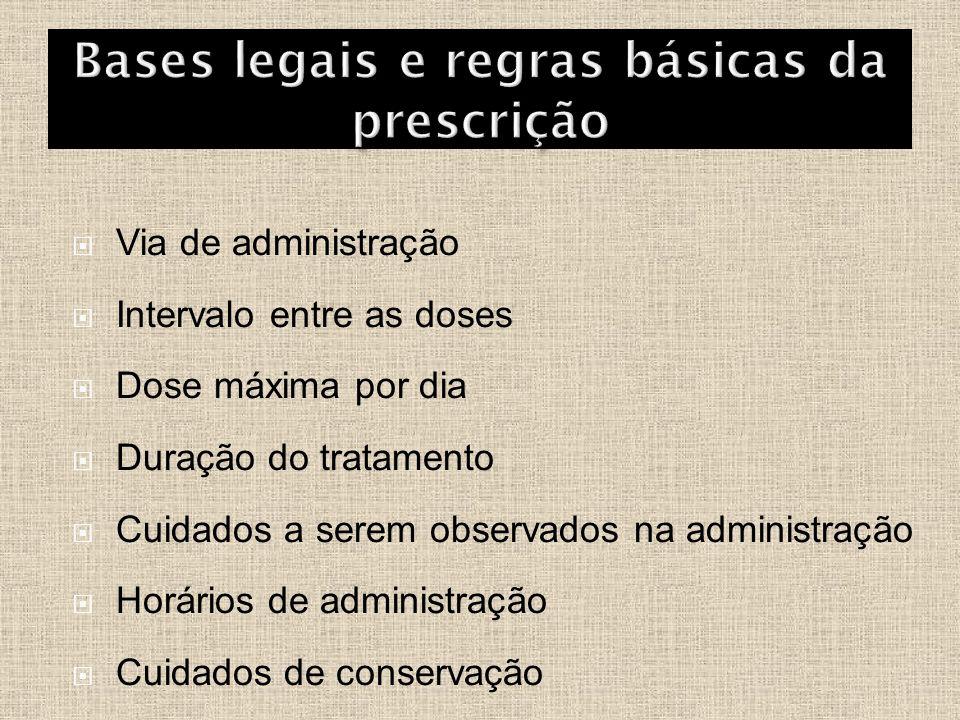  Via de administração  Intervalo entre as doses  Dose máxima por dia  Duração do tratamento  Cuidados a serem observados na administração  Horár