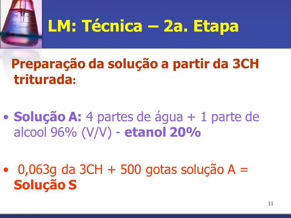 11 LM: Técnica – 2a. Etapa Preparação da solução a partir da 3CH triturada : Solução A: 4 partes de água + 1 parte de alcool 96% (V/V) - etanol 20% 0,