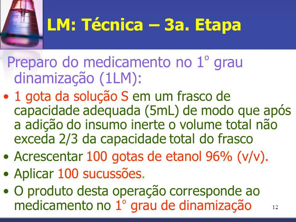 12 LM: Técnica – 3a. Etapa Preparo do medicamento no 1 º grau dinamização (1LM): 1 gota da solução S em um frasco de capacidade adequada (5mL) de modo