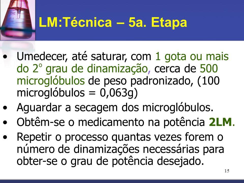 15 LM:Técnica – 5a. Etapa Umedecer, até saturar, com 1 gota ou mais do 2 º grau de dinamização, cerca de 500 microglóbulos de peso padronizado, (100 m