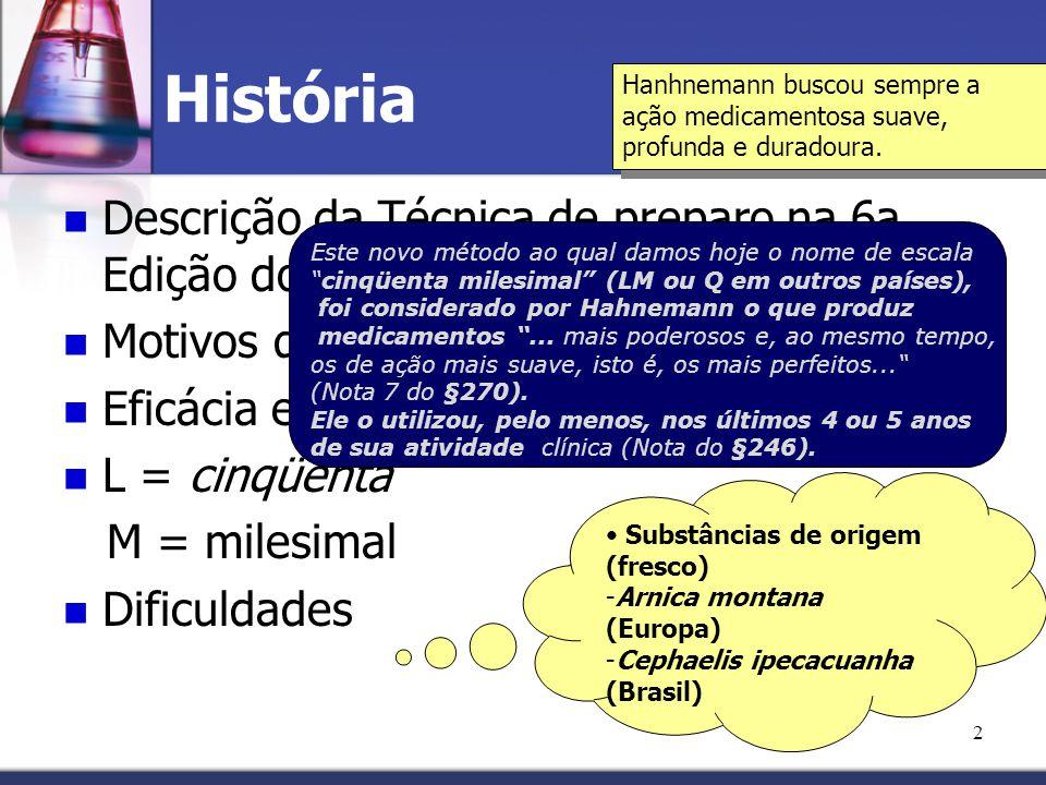 2 História Descrição da Técnica de preparo na 6a. Edição do Organon Motivos que levaram a essa técnica Eficácia e suavidade clinica L = cinqüenta M =