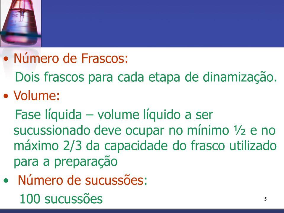 5 Número de Frascos: Dois frascos para cada etapa de dinamização. Volume: Fase líquida – volume líquido a ser sucussionado deve ocupar no mínimo ½ e n