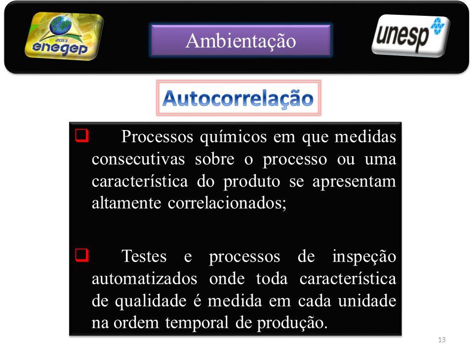  Processos químicos em que medidas consecutivas sobre o processo ou uma característica do produto se apresentam altamente correlacionados;  Testes e