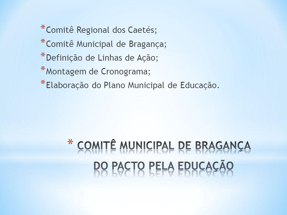* Participação da SEMED Bragança como representante regional da UNDIME no Comitê; * Apoio e responsável local por sediar o evento no polo de lançamento do Comitê; * Apoio e contato junto a outras secretarias de educação, para fortalecimento do Pacto na região.
