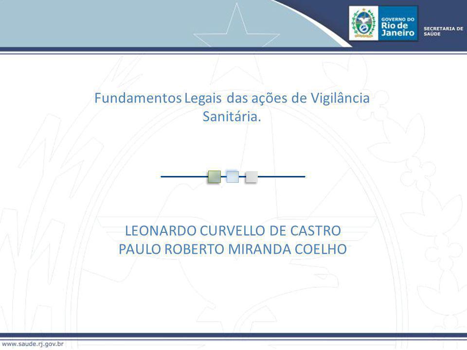 Fundamentos Legais das ações de Vigilância Sanitária. LEONARDO CURVELLO DE CASTRO PAULO ROBERTO MIRANDA COELHO