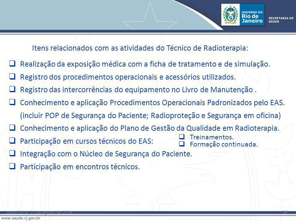 sexta-feira, 22 de agosto de 2014 14  Realização da exposição médica com a ficha de tratamento e de simulação.  Registro dos procedimentos operacion