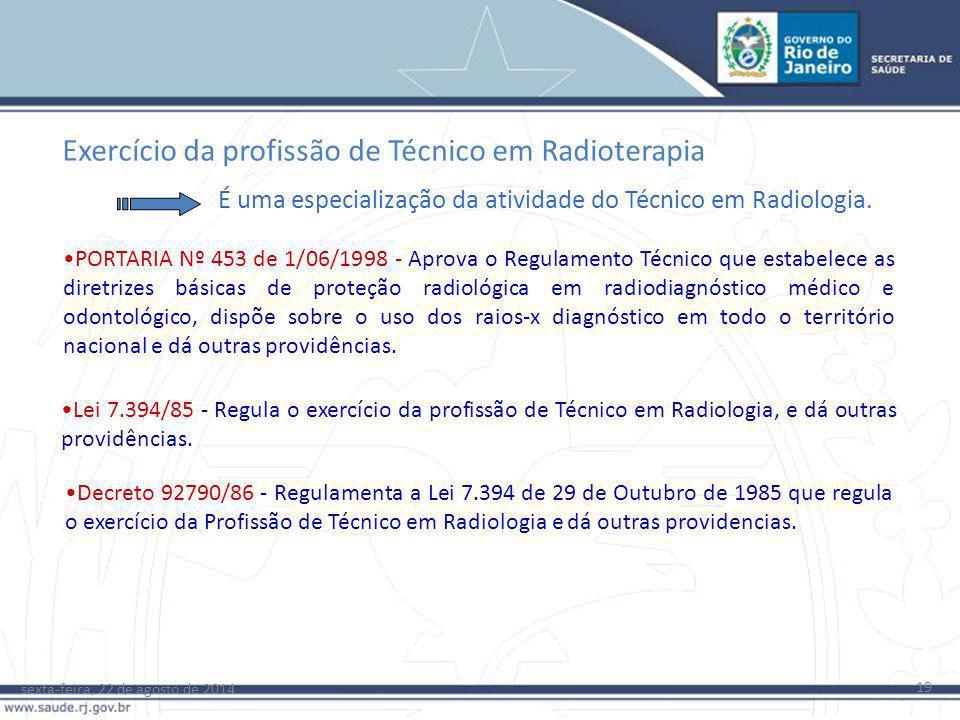 sexta-feira, 22 de agosto de 2014 19 Exercício da profissão de Técnico em Radioterapia Decreto 92790/86 - Regulamenta a Lei 7.394 de 29 de Outubro de