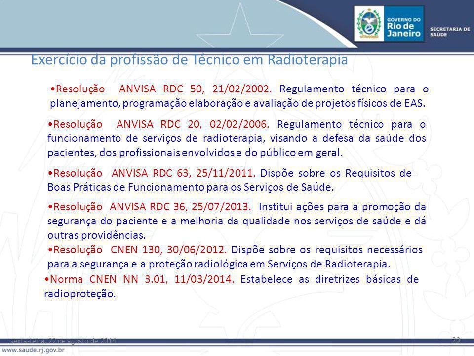 sexta-feira, 22 de agosto de 2014 20 Resolução ANVISA RDC 20, 02/02/2006. Regulamento técnico para o funcionamento de serviços de radioterapia, visand