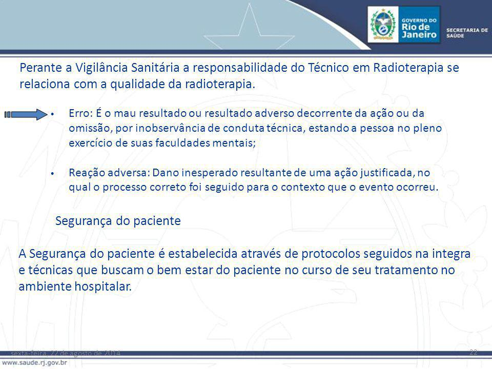 sexta-feira, 22 de agosto de 2014 22 Perante a Vigilância Sanitária a responsabilidade do Técnico em Radioterapia se relaciona com a qualidade da radi