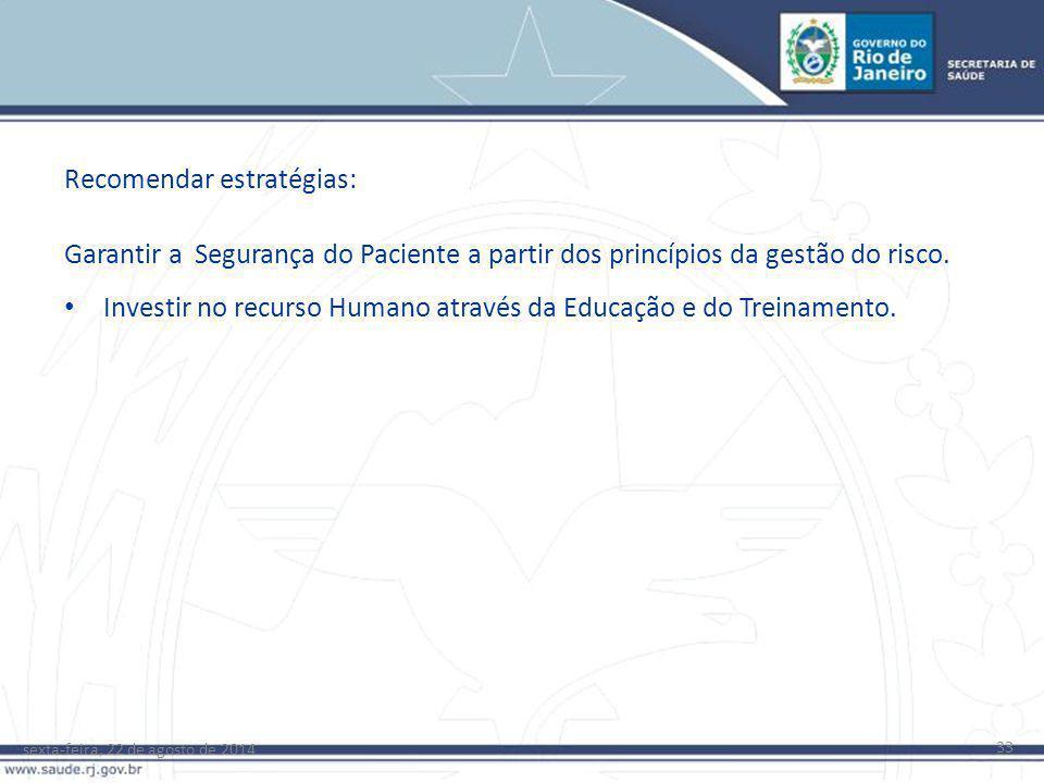 sexta-feira, 22 de agosto de 2014 33 Garantir a Segurança do Paciente a partir dos princípios da gestão do risco. Investir no recurso Humano através d
