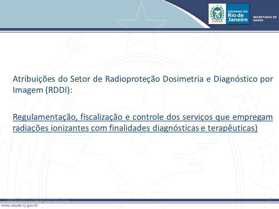 sexta-feira, 22 de agosto de 2014 4 Atribuições do Setor de Radioproteção Dosimetria e Diagnóstico por Imagem (RDDI): Regulamentação, fiscalização e c