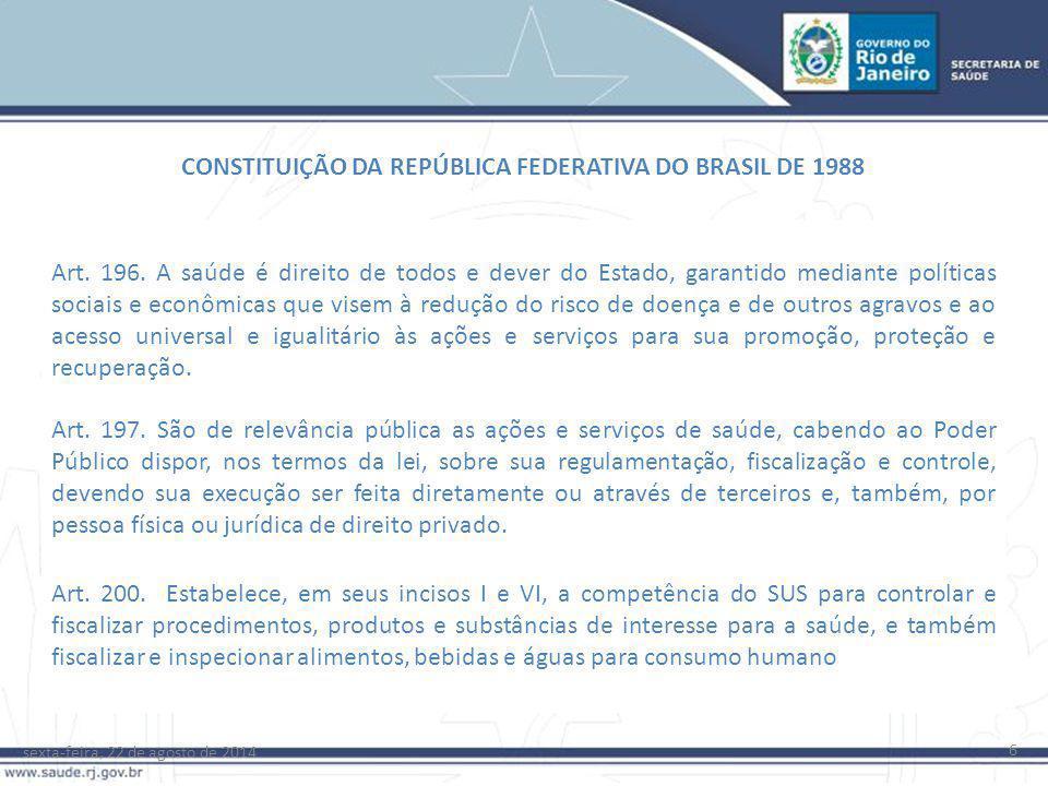 sexta-feira, 22 de agosto de 2014 6 CONSTITUIÇÃO DA REPÚBLICA FEDERATIVA DO BRASIL DE 1988 Art. 196. A saúde é direito de todos e dever do Estado, gar