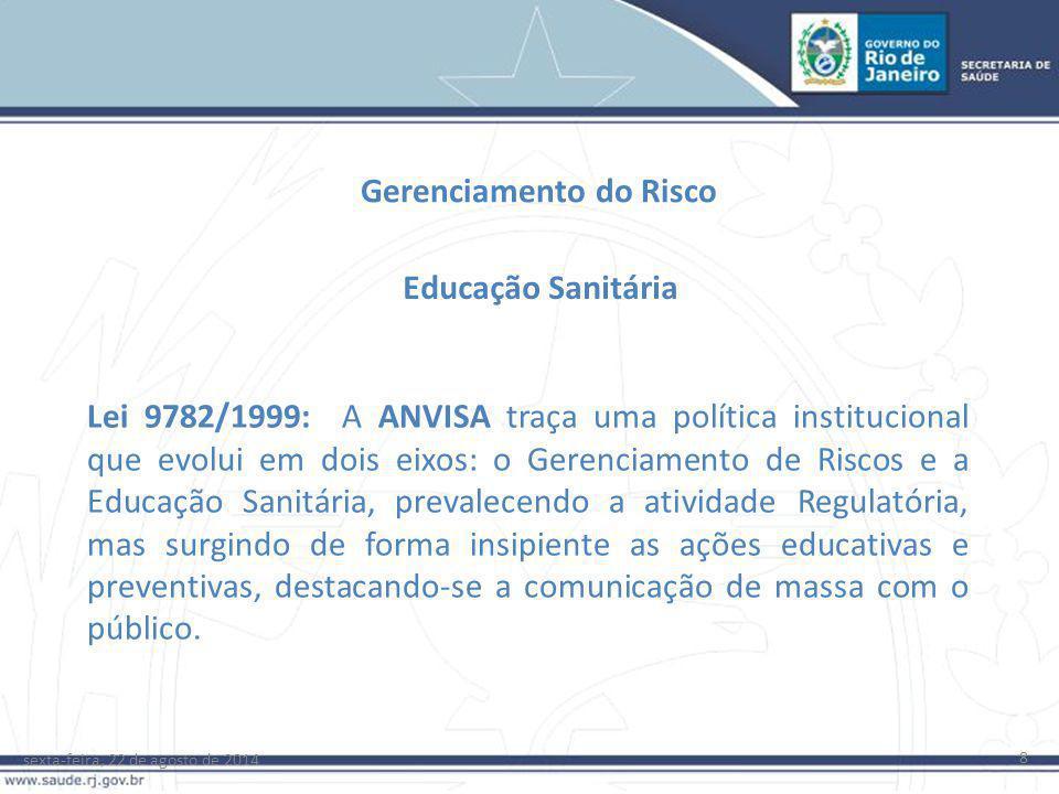 sexta-feira, 22 de agosto de 2014 8 Gerenciamento do Risco Lei 9782/1999: A ANVISA traça uma política institucional que evolui em dois eixos: o Gerenc