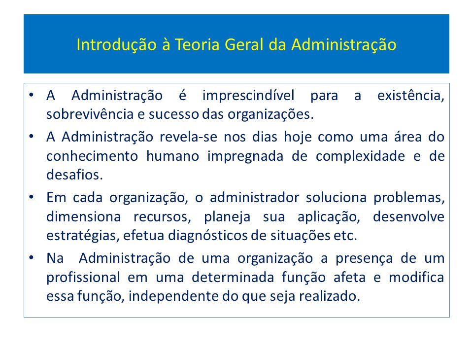 Introdução à Teoria Geral da Administração A Administração é imprescindível para a existência, sobrevivência e sucesso das organizações. A Administraç