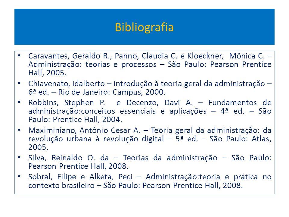 Bibliografia Caravantes, Geraldo R., Panno, Claudia C. e Kloeckner, Mônica C. – Administração: teorias e processos – São Paulo: Pearson Prentice Hall,