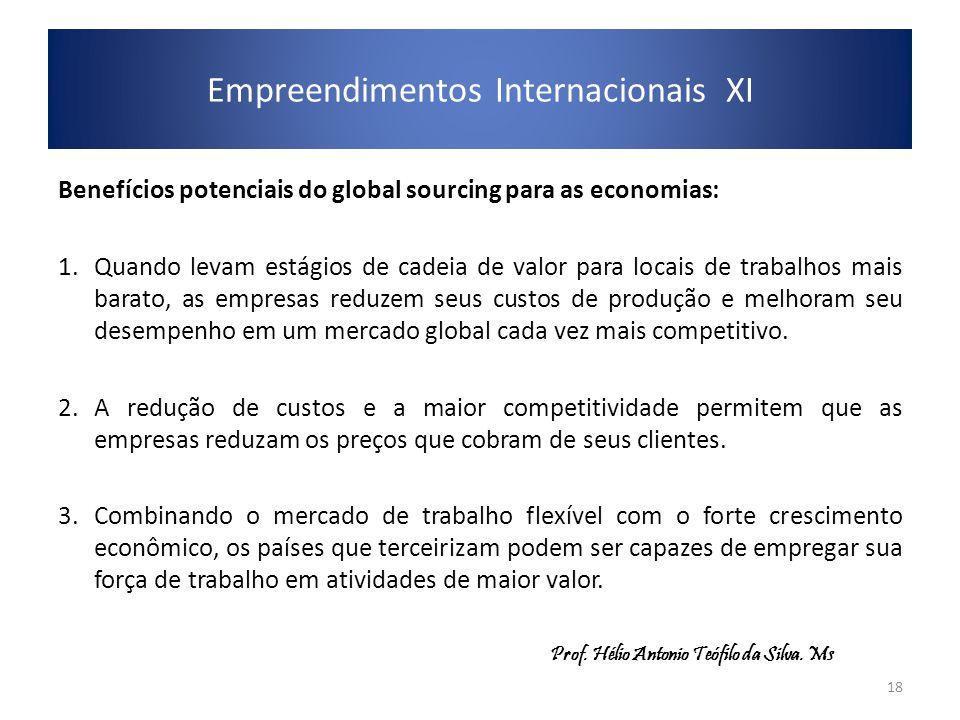 Empreendimentos Internacionais XI Benefícios potenciais do global sourcing para as economias: 1.Quando levam estágios de cadeia de valor para locais d