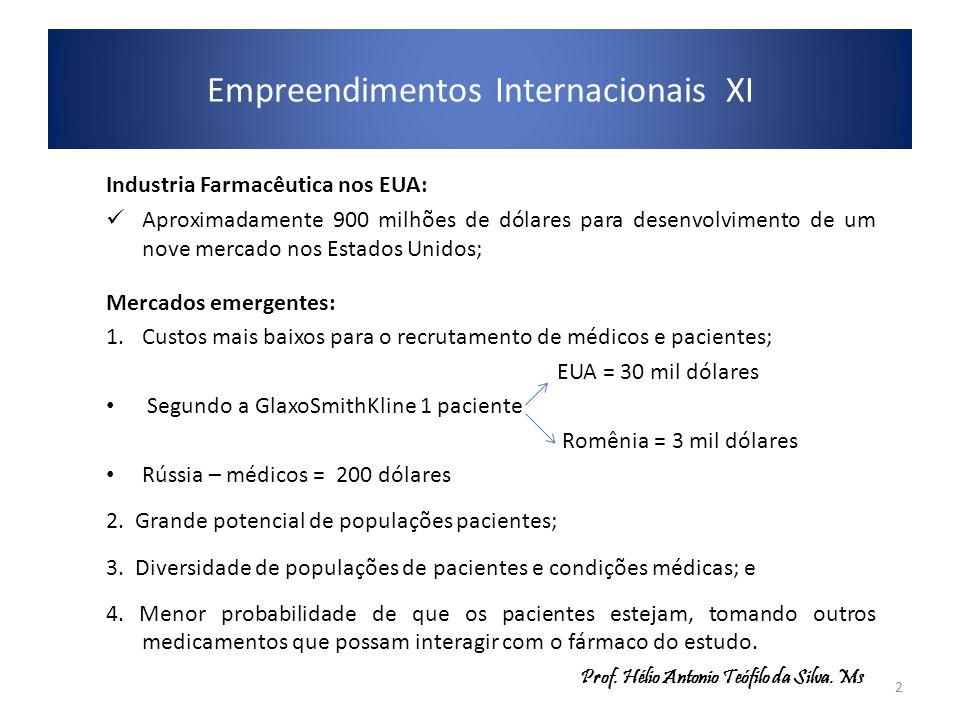 Empreendimentos Internacionais XI Industria Farmacêutica nos EUA: Aproximadamente 900 milhões de dólares para desenvolvimento de um nove mercado nos E