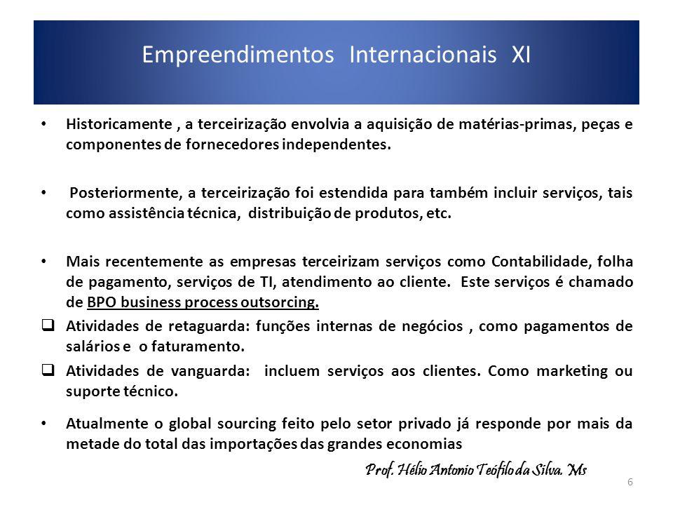 Empreendimentos Internacionais XI Historicamente, a terceirização envolvia a aquisição de matérias-primas, peças e componentes de fornecedores indepen