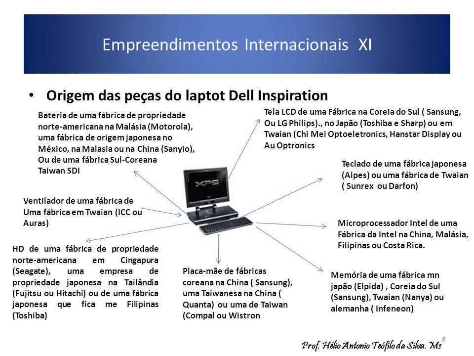 Origem das peças do laptot Dell Inspiration Empreendimentos Internacionais XI Memória de uma fábrica mn japão (Elpida), Coreia do Sul (Sansung), Twaia