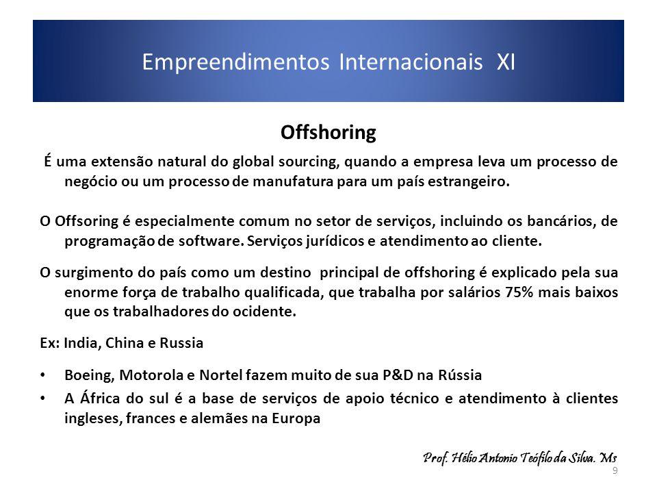 Offshoring É uma extensão natural do global sourcing, quando a empresa leva um processo de negócio ou um processo de manufatura para um país estrangei
