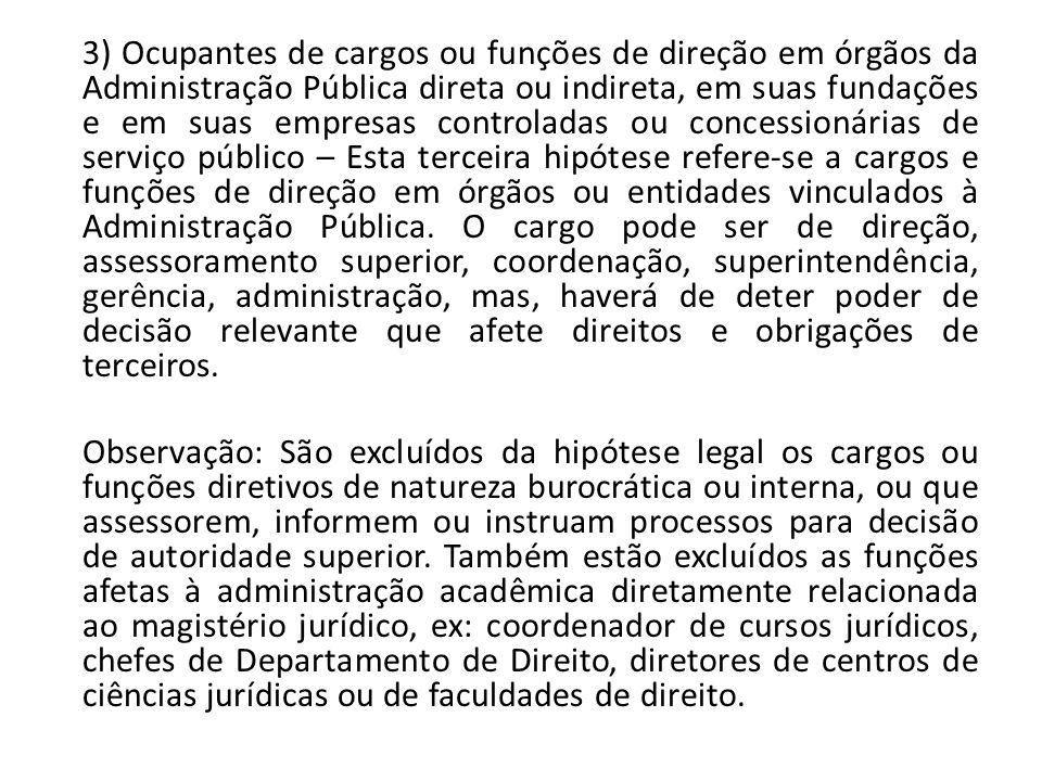 3) Ocupantes de cargos ou funções de direção em órgãos da Administração Pública direta ou indireta, em suas fundações e em suas empresas controladas o