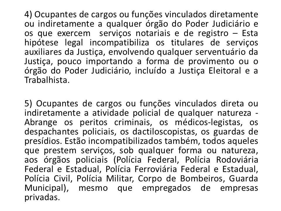 4) Ocupantes de cargos ou funções vinculados diretamente ou indiretamente a qualquer órgão do Poder Judiciário e os que exercem serviços notariais e d