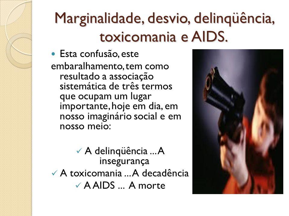 Marginalidade, desvio, delinqüência, toxicomania e AIDS. Esta confusão, este embaralhamento, tem como resultado a associação sistemática de três termo