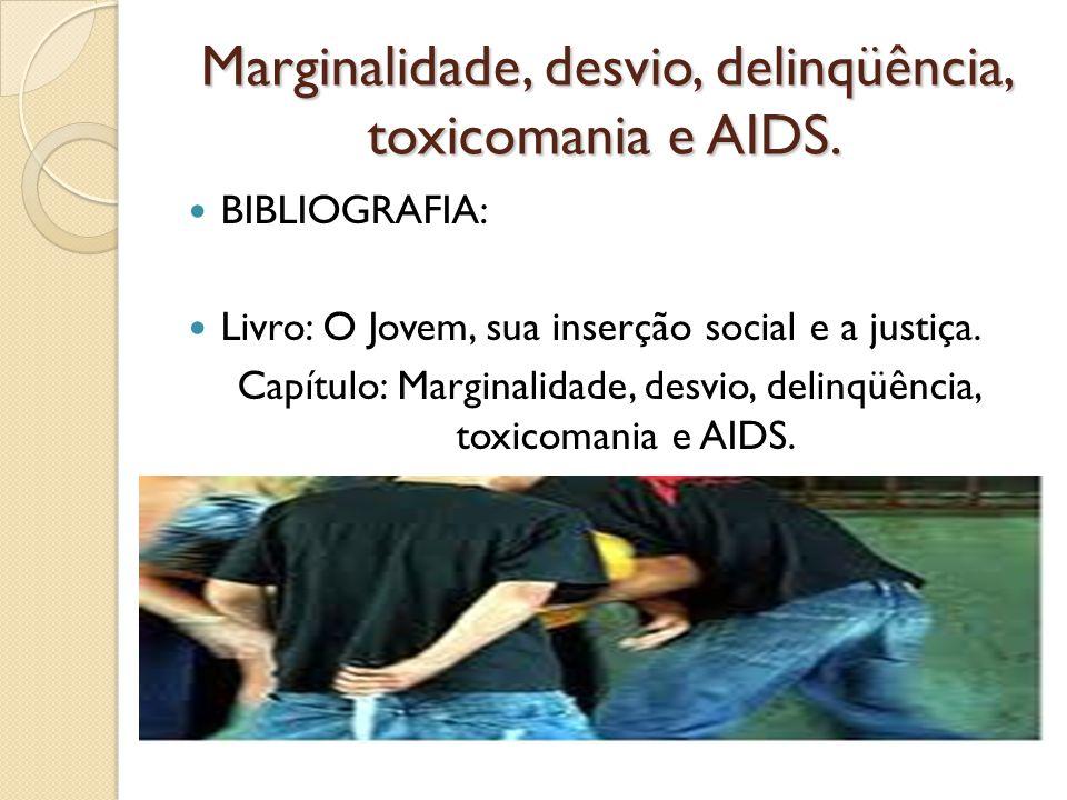 Marginalidade, desvio, delinqüência, toxicomania e AIDS. BIBLIOGRAFIA: Livro: O Jovem, sua inserção social e a justiça. Capítulo: Marginalidade, desvi
