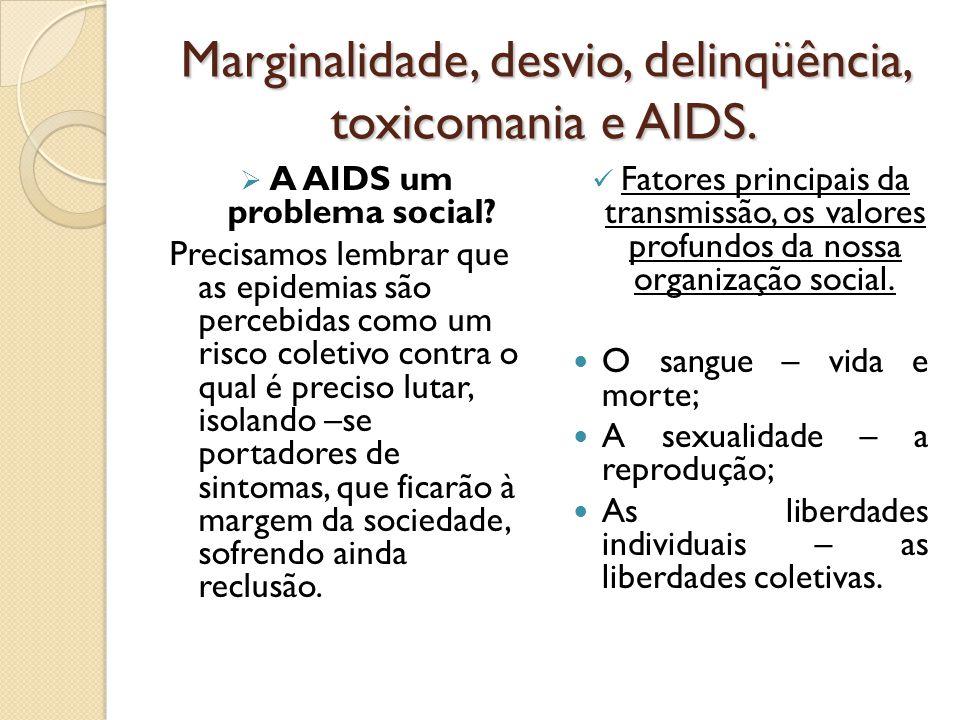 Marginalidade, desvio, delinqüência, toxicomania e AIDS.  A AIDS um problema social? Precisamos lembrar que as epidemias são percebidas como um risco