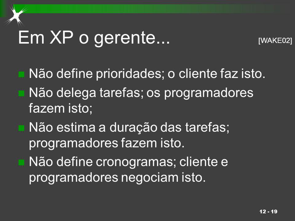 12 - 19 Em XP o gerente... Não define prioridades; o cliente faz isto. Não delega tarefas; os programadores fazem isto; Não estima a duração das taref