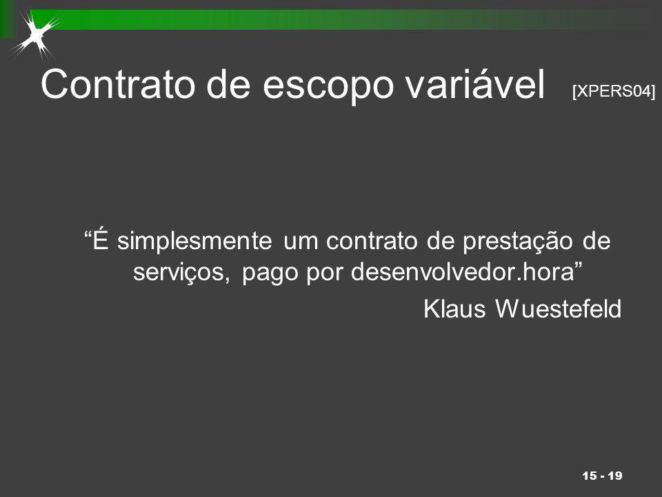 """15 - 19 Contrato de escopo variável """"É simplesmente um contrato de prestação de serviços, pago por desenvolvedor.hora"""" Klaus Wuestefeld [XPERS04]"""
