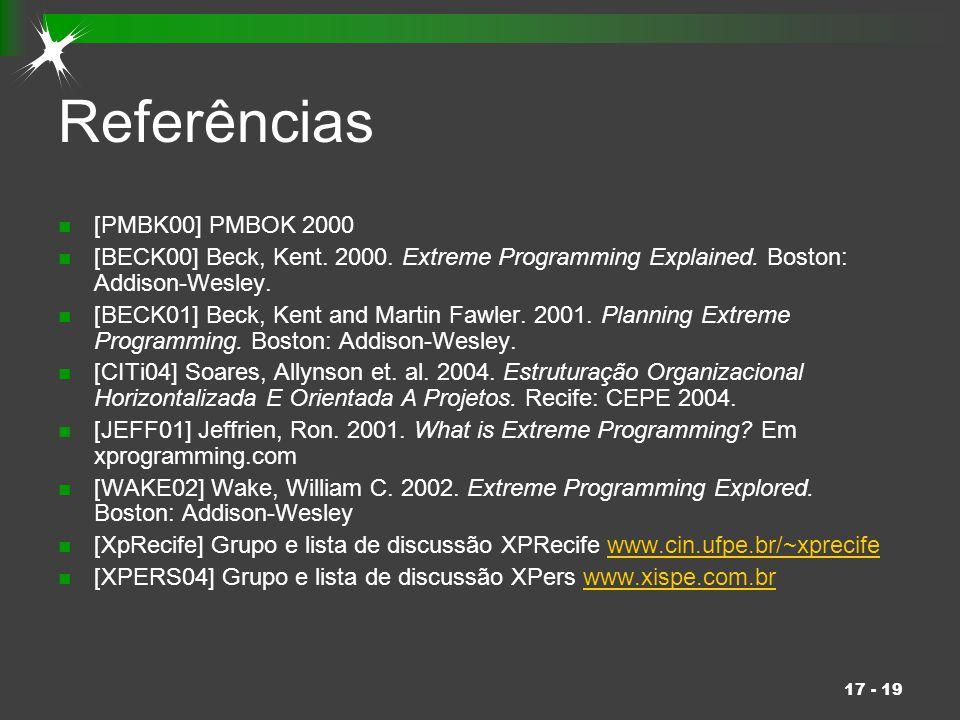 17 - 19 Referências [PMBK00] PMBOK 2000 [BECK00] Beck, Kent. 2000. Extreme Programming Explained. Boston: Addison-Wesley. [BECK01] Beck, Kent and Mart