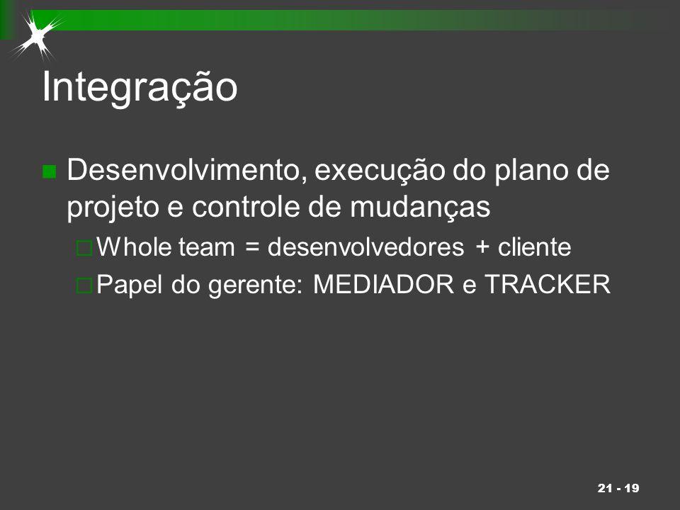 21 - 19 Integração Desenvolvimento, execução do plano de projeto e controle de mudanças  Whole team = desenvolvedores + cliente  Papel do gerente: M