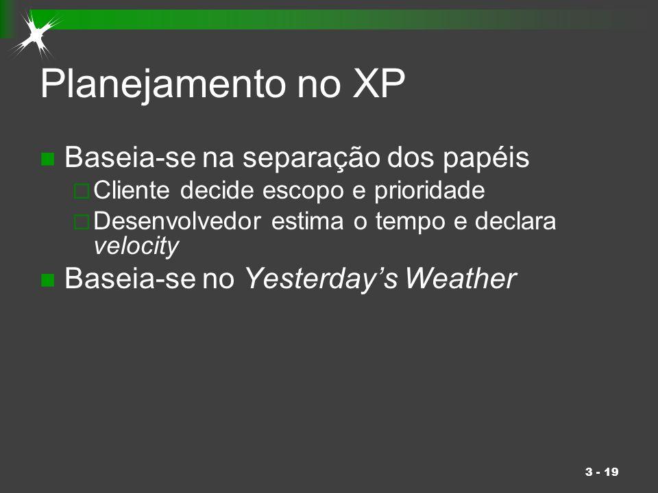 3 - 19 Planejamento no XP Baseia-se na separação dos papéis  Cliente decide escopo e prioridade  Desenvolvedor estima o tempo e declara velocity Bas