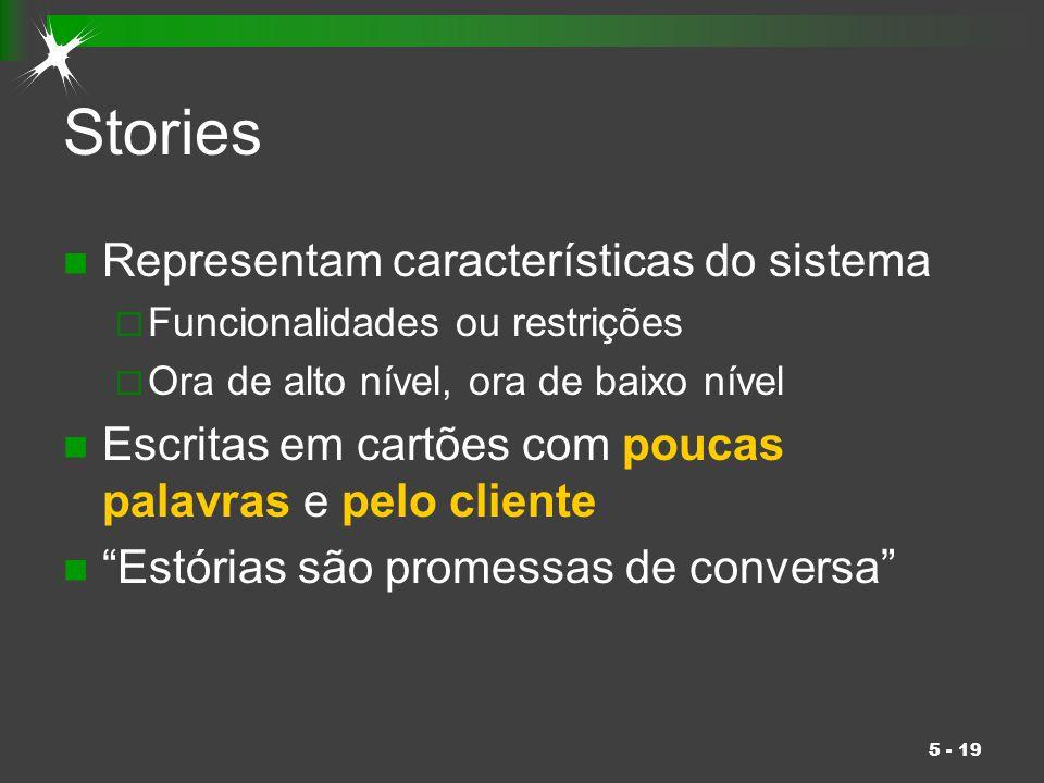 5 - 19 Stories Representam características do sistema  Funcionalidades ou restrições  Ora de alto nível, ora de baixo nível Escritas em cartões com