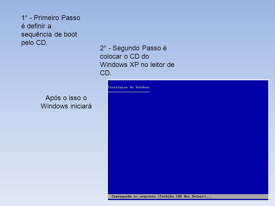 1° - Primeiro Passo é definir a sequência de boot pelo CD. 2° - Segundo Passo é colocar o CD do Windows XP no leitor de CD. Após o isso o Windows inic