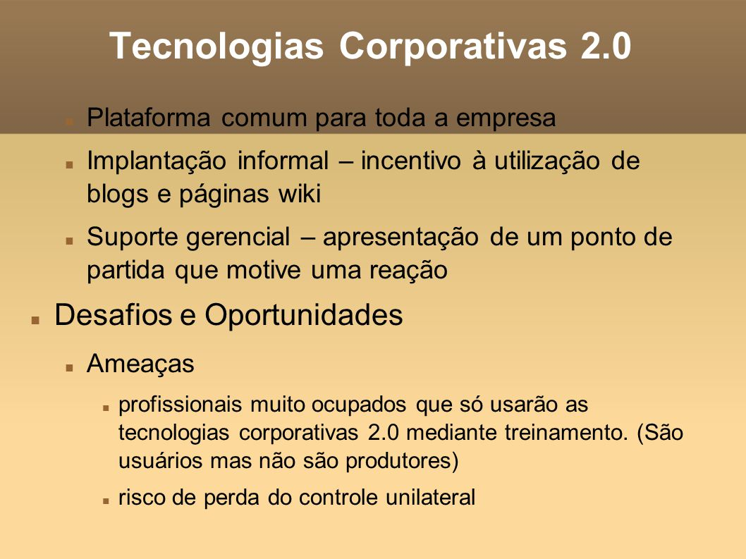 Tecnologias Corporativas 2.0