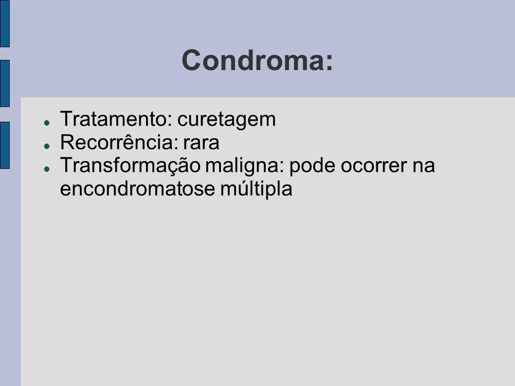 Condroma: Tratamento: curetagem Recorrência: rara Transformação maligna: pode ocorrer na encondromatose múltipla