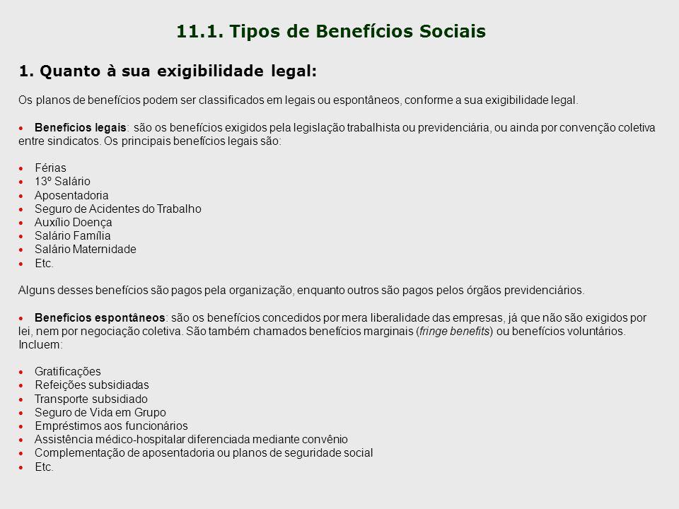 11.1. Tipos de Benefícios Sociais 1. Quanto à sua exigibilidade legal: Os planos de benefícios podem ser classificados em legais ou espontâneos, confo