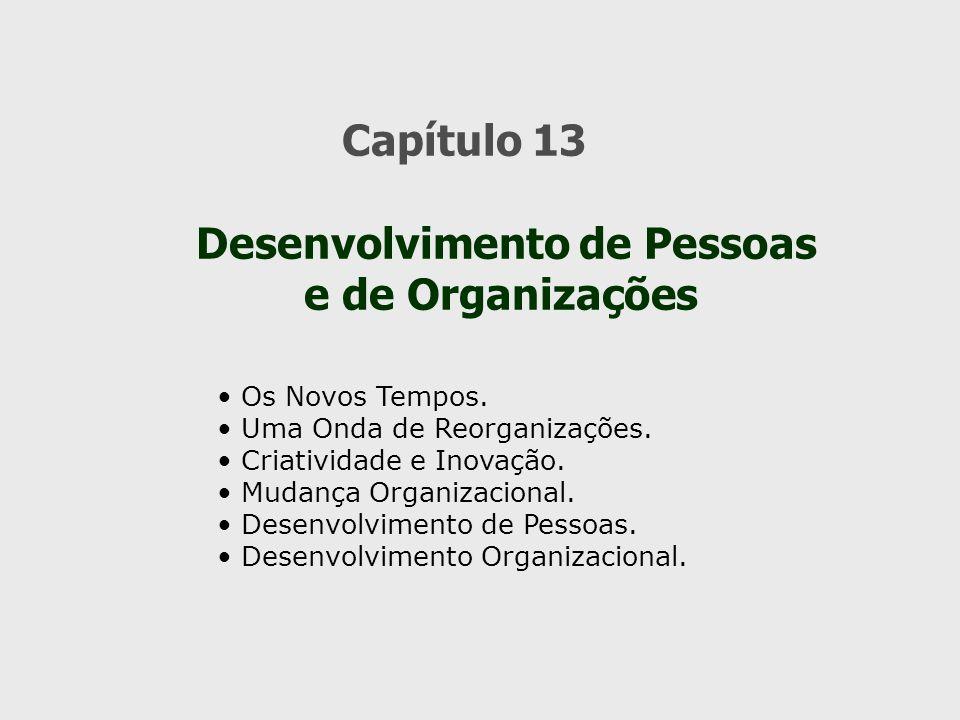 Capítulo 13 Desenvolvimento de Pessoas e de Organizações Os Novos Tempos. Uma Onda de Reorganizações. Criatividade e Inovação. Mudança Organizacional.