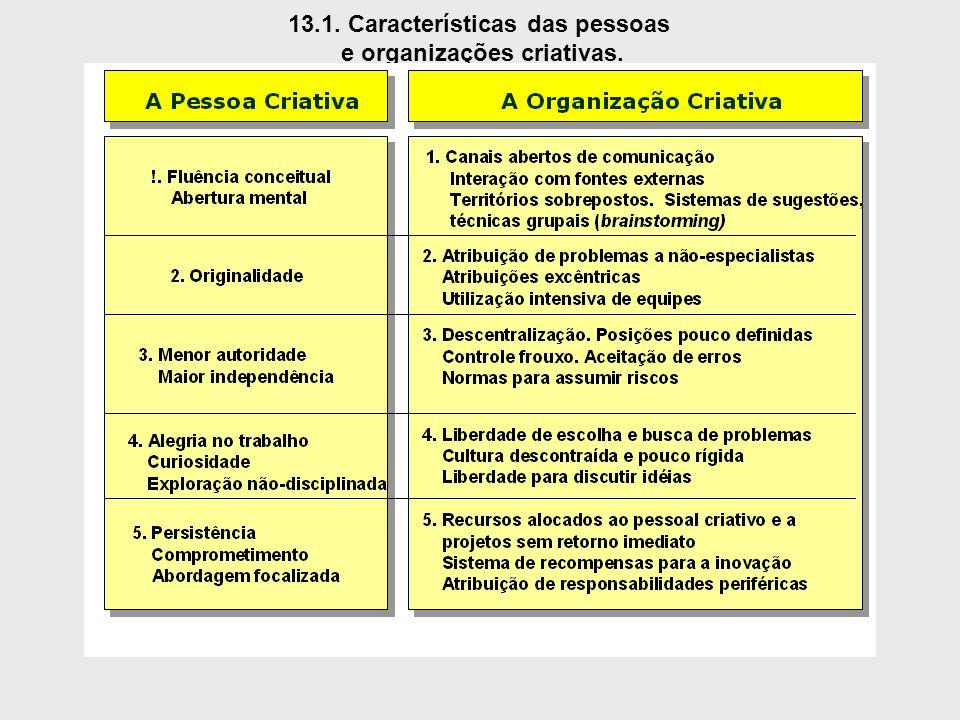 13.1. Características das pessoas e organizações criativas.