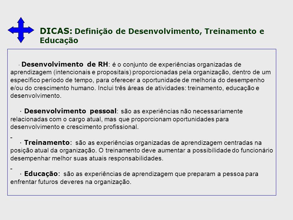 · Desenvolvimento de RH : é o conjunto de experiências organizadas de aprendizagem (intencionais e propositais) proporcionadas pela organização, dentr