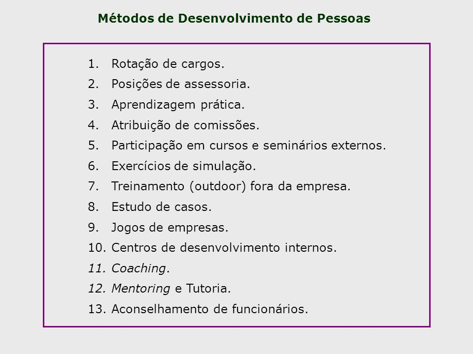 Métodos de Desenvolvimento de Pessoas 1.Rotação de cargos. 2.Posições de assessoria. 3.Aprendizagem prática. 4.Atribuição de comissões. 5.Participação