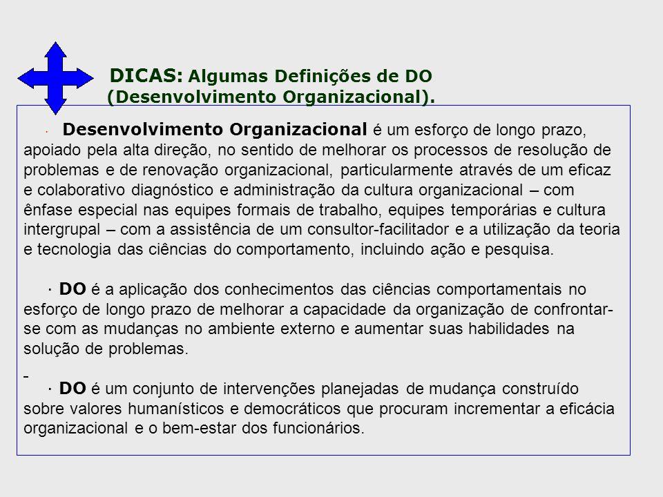 · Desenvolvimento Organizacional é um esforço de longo prazo, apoiado pela alta direção, no sentido de melhorar os processos de resolução de problemas