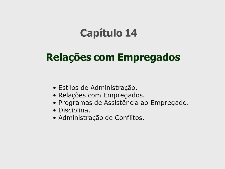 Capítulo 14 Relações com Empregados Estilos de Administração. Relações com Empregados. Programas de Assistência ao Empregado. Disciplina. Administraçã