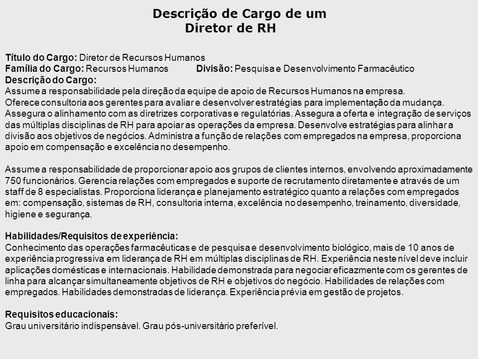 Título do Cargo: Diretor de Recursos Humanos Família do Cargo: Recursos HumanosDivisão: Pesquisa e Desenvolvimento Farmacêutico Descrição do Cargo: As