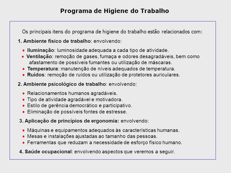 Os principais itens do programa de higiene do trabalho estão relacionados com: 1. Ambiente físico de trabalho: envolvendo:  Iluminação: lumin